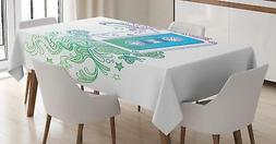 Modern Doodle Tablecloth Ambesonne 3 Sizes Rectangular Table