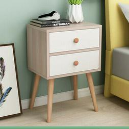Modern End Side Tables Nightstand with 2 Storage Drawers Liv