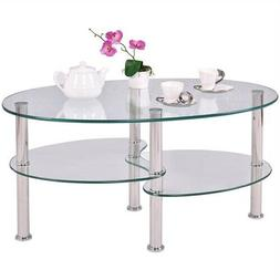 Modern Glass Coffee Table For Living Room Clear Oval Bottom