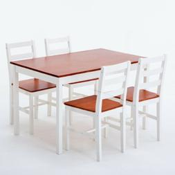 5 Piece Pine Wood Dining Table Set with 4 Chairs Breakfast K