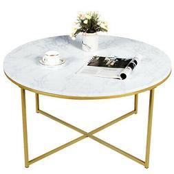 Modern Round Accent Side Coffee Table Faux Marble Top w/ Met