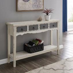 Modern Two Tone - Two Drawer Distressed Console Entryway Tab