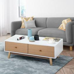 Modern Wood Coffee Table End Table Living Room Storage Organ