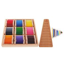 Montessori Bead Stairs + Color Tablets Box Kids Learning Edu