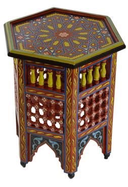 Moroccan Handmade Moucharabi Table Side Delicate Hand Painte