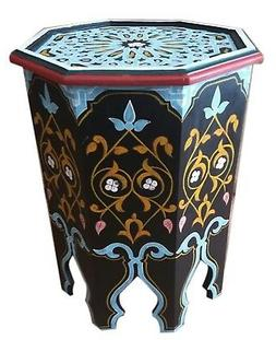 Moroccan Handmade Wood Table Side Delicate Hand Painted Exqu