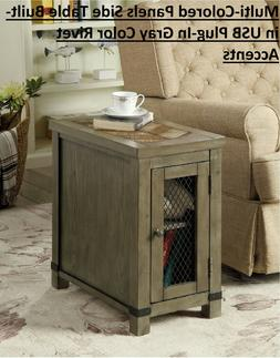 Multi-Colored Panels Side Table Built-in USB Plug-In Gray Co