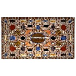 Multi Stone Marble Dining Table Side Top Mosaic Inlaid Uniqu