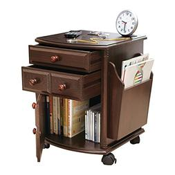 Collections Etc Multi Storage Mahogany Finish Companion Side