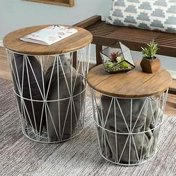 Nesting End Tables Metal Basket Wooden Top 20 and 15 In Mult