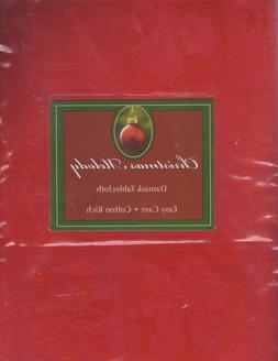 NEW BENSON MILLS *CHRISTMAS MELODY* DAMASK RED TABLECLOTH