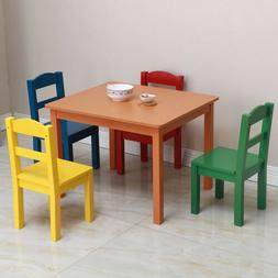 New Kids Wood Table and 4 Chairs Set Multiple Colors Play Fu