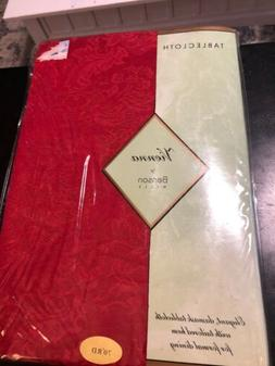 """New Old Stock Benson Mills """"VIENNA"""" Red Damask TABLECLOTH ~"""