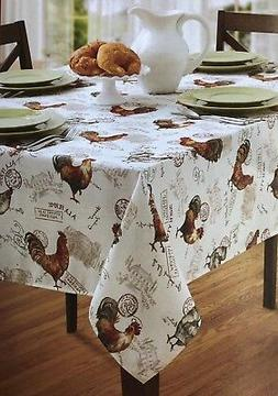 """Benson Mills 60""""x 84"""" Oblong TEXTURED Poly ROOSTER Tableclot"""