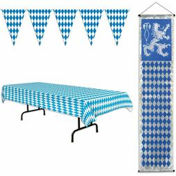 Oktoberfest Party Supplies, Table Cover, 120 Foot Pennant Ba