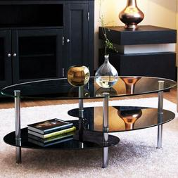 Ryan Rove Orion 38 Inch Oval Two Tier Glass Coffee Table