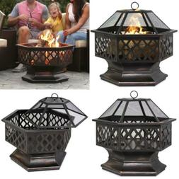Best Choice Products Outdoor Hex-Shaped 24-inch Steel Fire P