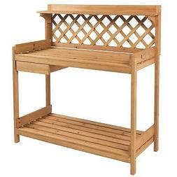 Best Choice Products Outdoor Wooden Garden Potting Bench Wor