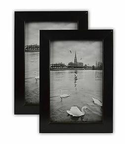 Pack of 2 Ebony Black Wood table top picture frame with REAL