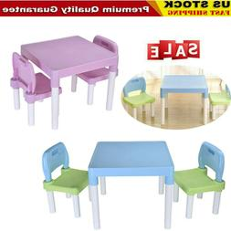 plastic kids table and 2 chairs set