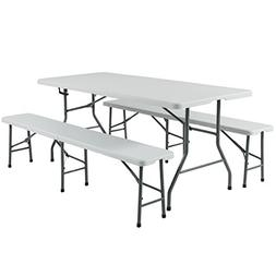 Best Choice Products 3pc Portable 6' Folding Table and Bench