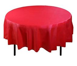Premium Plastic Tablecloth 84inch Round Table Cover Red Roun