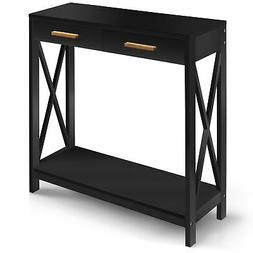 Prosumer's Choice Black Entryway Console, Narrow Sofa Table