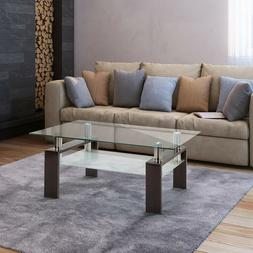 Rectangle Glass Coffee Table  Clear Modern Side Center Table