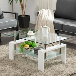 Rectangular Coffee Table Glass Shelf Living Room Wood Furnit