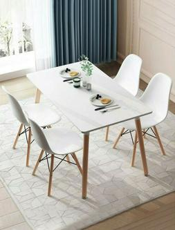 Retro Dining Table and Chairs 4 Set Wooden Legs Room Kitchen