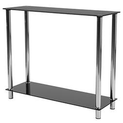 Flash Furniture Riverside Collection Black Glass Console Tab