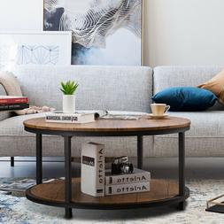 Round Coffee Table 2Tiers Sofa Table with Storage Living Roo