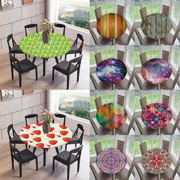 Round Fitted Tablecloth Table Cover for Indoor Outdoor Dinin