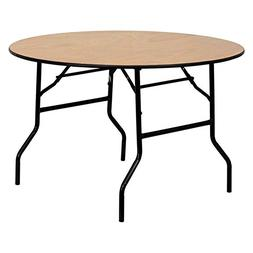 Round Folding Banquet Table with Clear Coated Finished Top -