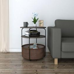 Lifewit Small Round Side Table End Table with Fabric Storage