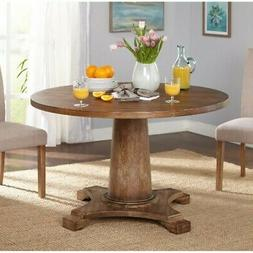 Round Solid Wood Pedestal Dining Table Rustic Farmhouse Coun