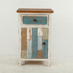 Luxen Home Rustic Multi-Color Small Console Cabinet