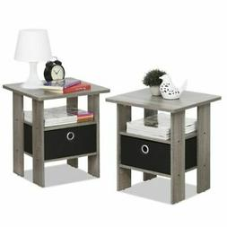 Set 2 Gray Finish Wooden End Table Nightstand Accent Side Bl