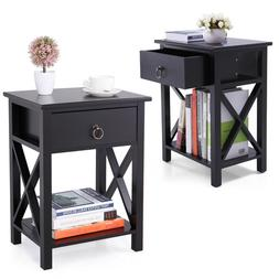 Set of 2 Finish Nightstand Bedside Table Shelf Bedroom Black