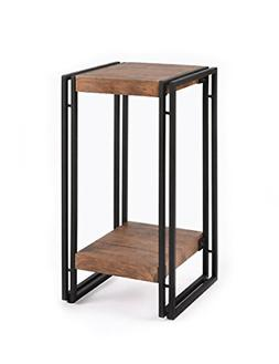Side Table for Small Spaces End Table Rustic Industrial Meta