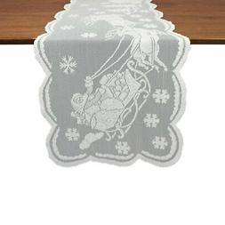 DII Snow Village Lace Table Runner