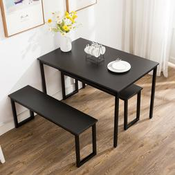3 Piece Dining Table Set 2 Chairs Bench Kitchen Dining Room