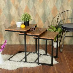 Lillyarn 3pc Stacking Nesting Coffee Table Set of 3 End Side
