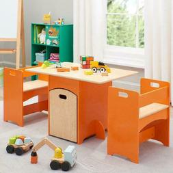 Table and Bench Set for Kids Wooden Storage 4 PCS Childrens