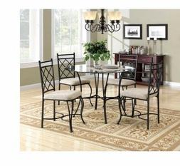 Table and Chairs Classic Style Glass Top Metal Dining Set 5-