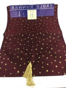 Newbridge Table Runner Burgundy Gold Metallic Designer Table