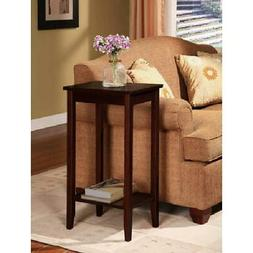 Tall End Table for Small Spaces Rosewood Brown Finish Shelf