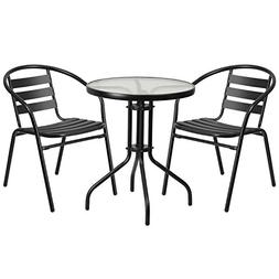 Flash Furniture TLH-071RD-017CBK2-GG Table And 2 Stack Chair