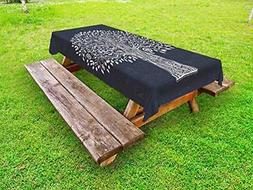 Lunarable Tree of Life Outdoor Tablecloth, Doodle Tree