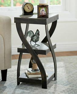 Twisted Side Table - Modern Accent Table with Distressed Fin